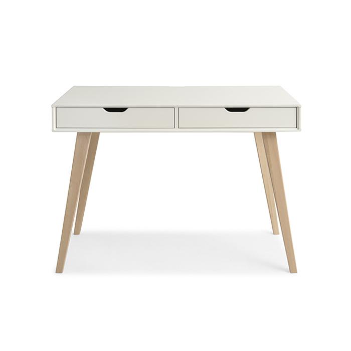 Nowoczesne, drewniane biurko KOLO z litej brzozy skandynawskiej  75x104x50cm biały
